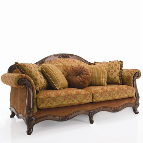sofas decor rest upholstered accents traditional exposed wood sofa