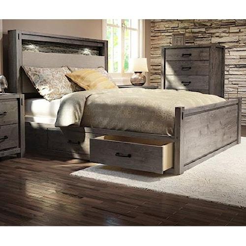 Ashley Furniture Ontario: Defehr Series 697 Queen Rustic Panel Storage Bed