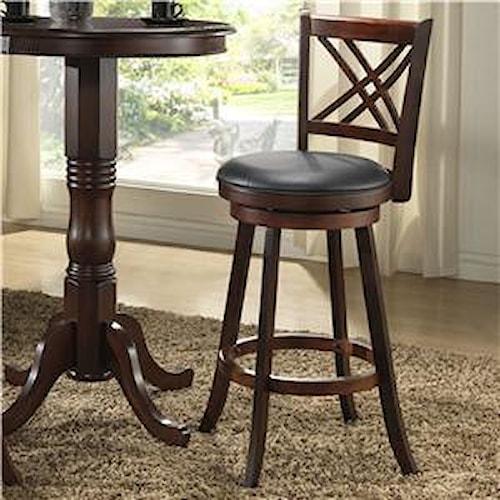 E C I Furniture Bar Stools 24 Walnut X Back Counter Stool Mueller Furniture Bar Stool St