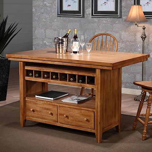 E C I Furniture Dining Kitchen Island W Wine Rack Wayside Furniture Pub Table