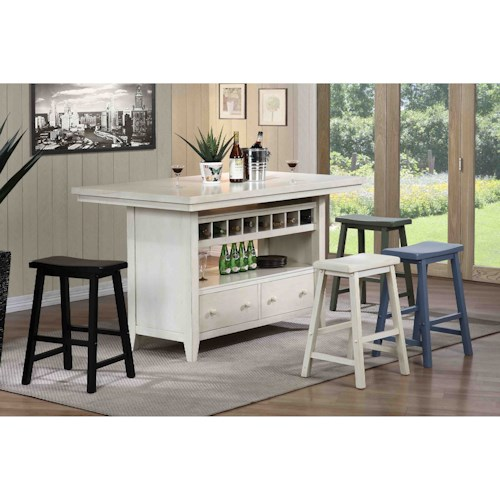 E c i furniture dining casual kitchen island group for Casual kitchen dining