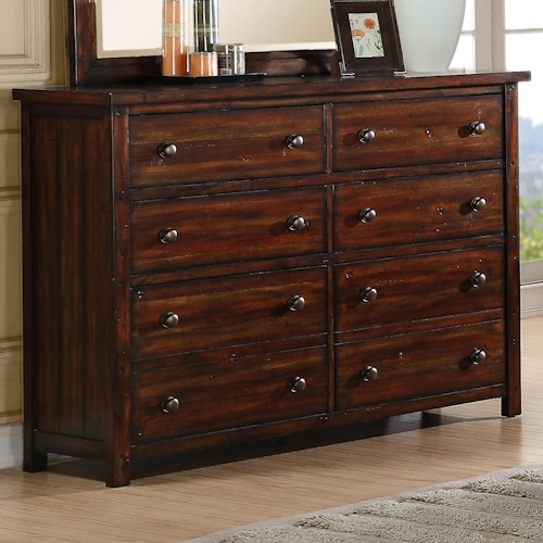Elements International Boardwalk Dresser With 8 Drawers Becker Furniture World Dresser Twin