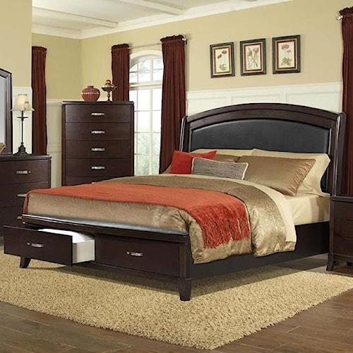 Elements International Delaney Queen Low Profile Bed Royal Furniture Platform Or Low Profile