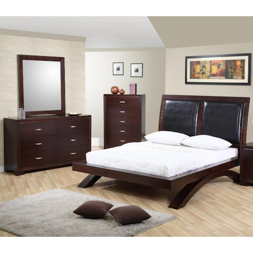 elements international raven king bed dresser mirror nightstand