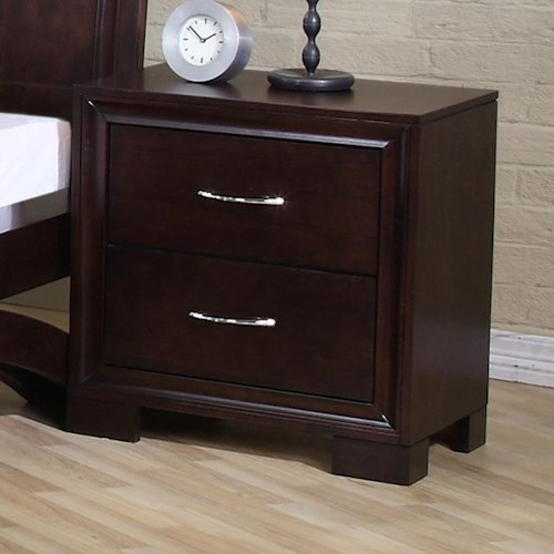 Elements International Raven Contemporary 2 Drawer Night