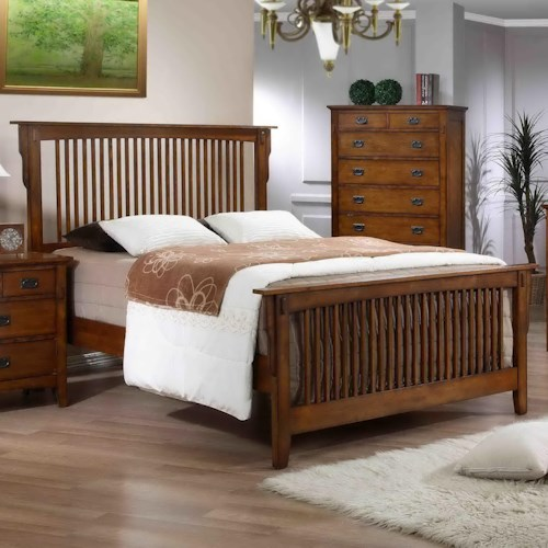 Elements International Trudy Mission Style Queen Bed With Slat Headboard