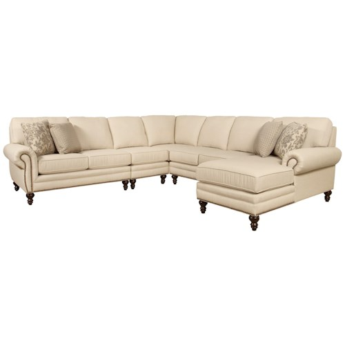 England amix seven seat sectional sofa with right side for Sectional sofa with right side chaise