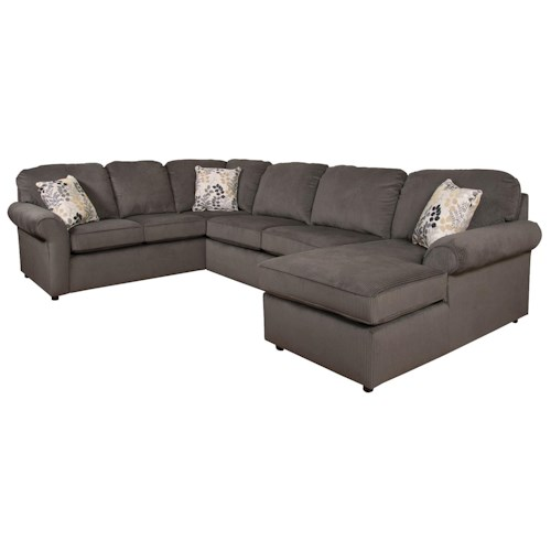 England malibu 5 6 seat right side chaise sectional for Sectional sofa 6 seater