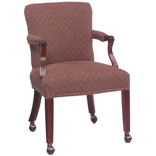 Fairfield chairs traditional exposed wood occasional chair for Living room chairs on wheels