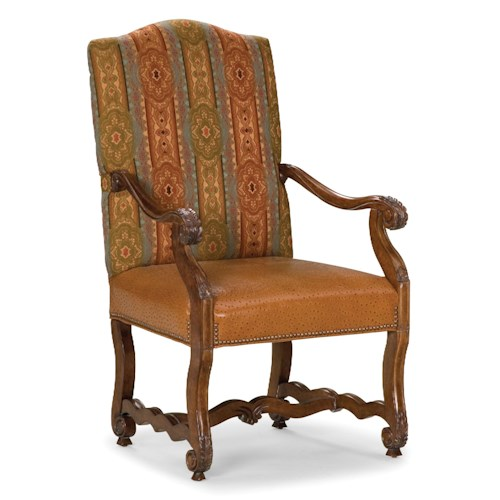 Explosed Wood Accent Chair: Fairfield Chairs Exposed Wood Accent Chair With Nailhead