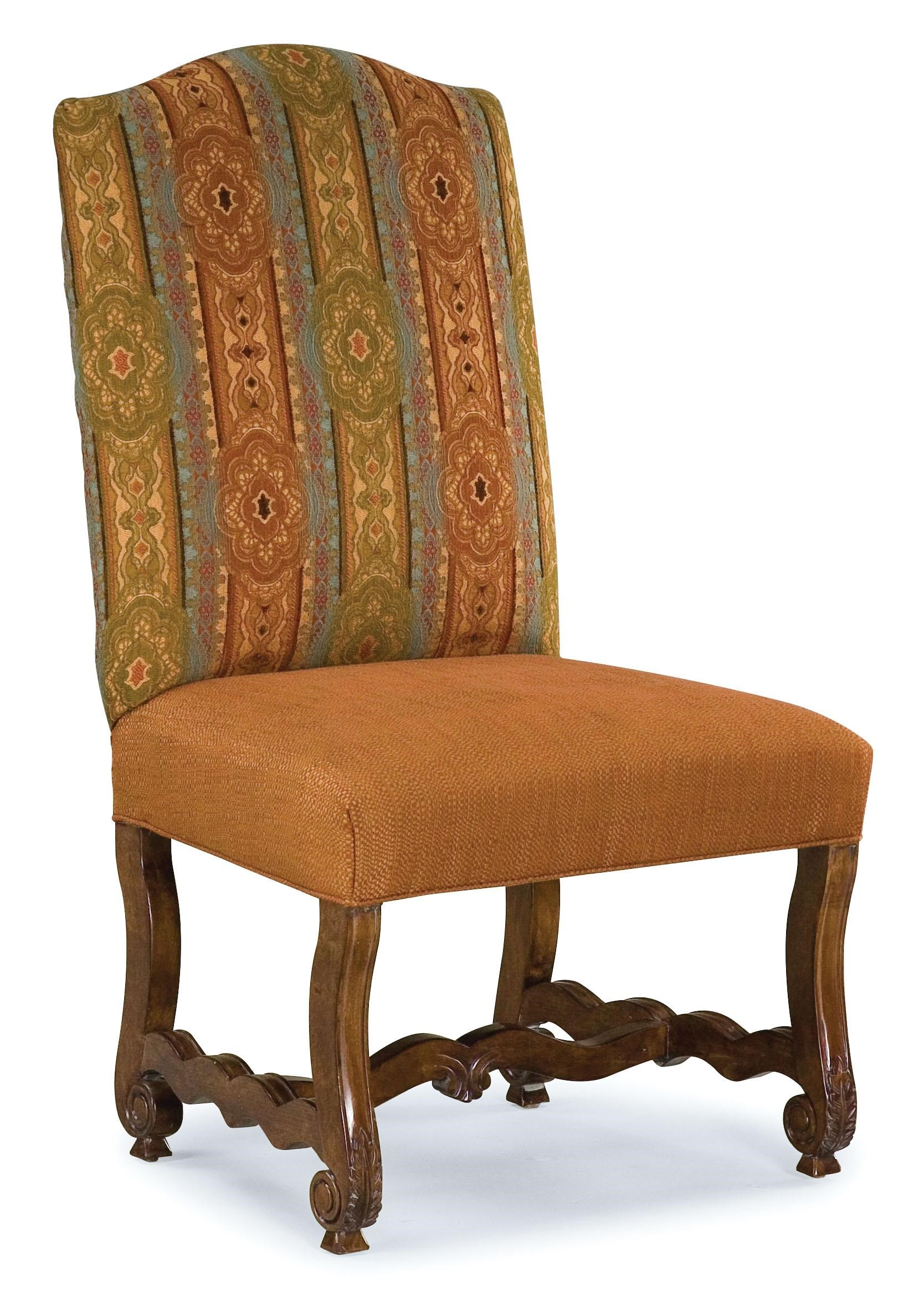 Fairfield Chairs Armless Accent Chair with Wooden Carvings