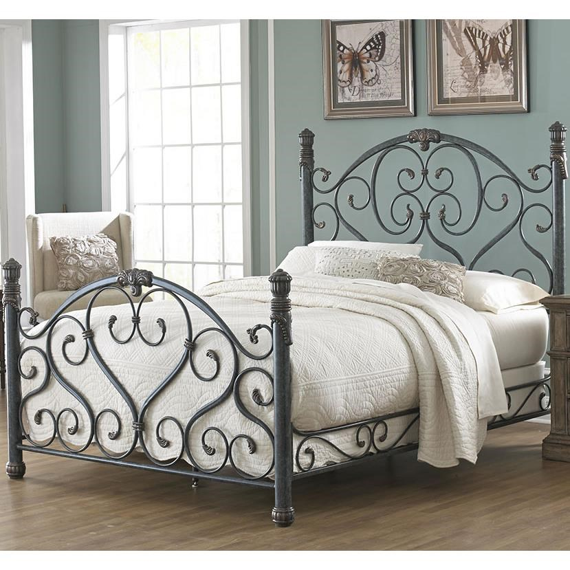 duchess king bed with scroll work   walker s furniture