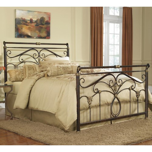 Fashion bed group metal beds queen lucinda bed w o frame for Bedroom furniture without bed