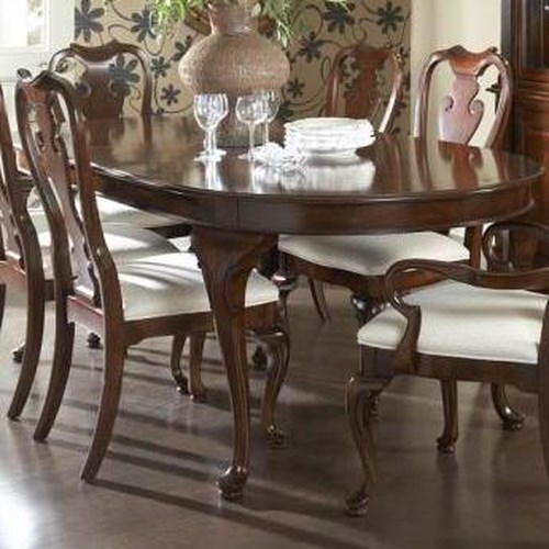 fine furniture design american cherry traditional oval dining table with cabriole legs two. Black Bedroom Furniture Sets. Home Design Ideas