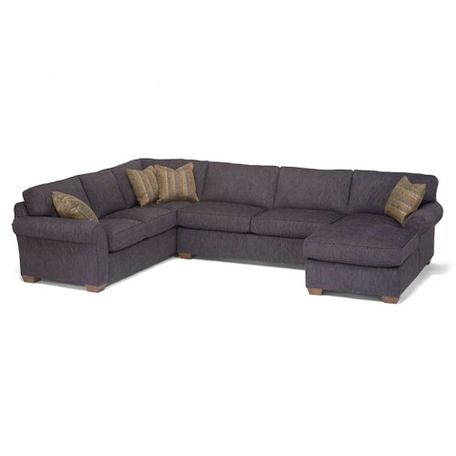 Flexsteel vail three piece sectional with chaise darvin for Flexsteel 4 piece sectional sofa with right arm facing chaise in brown