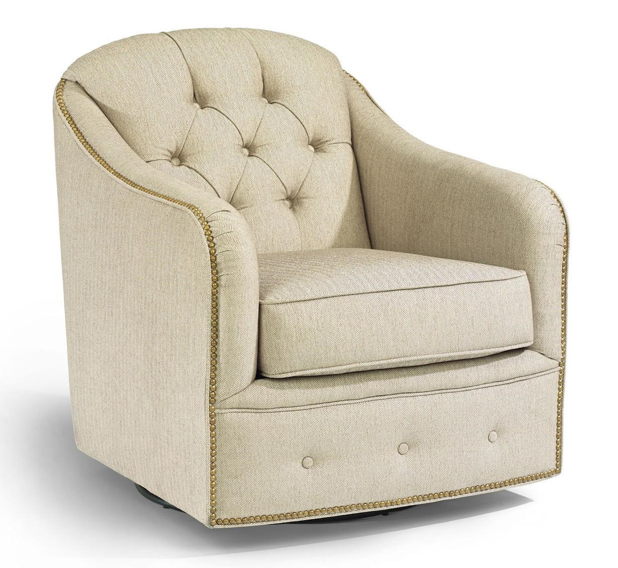 Flexsteel Accents Fairchild Swivel Chair with Nailhead