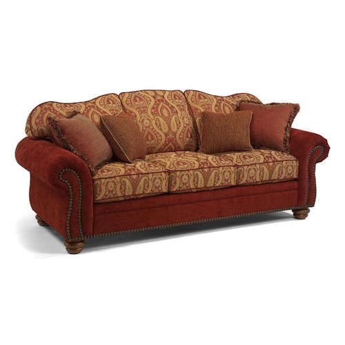 Flexsteel bexley traditional sofa with nail head trim for Wayside furniture