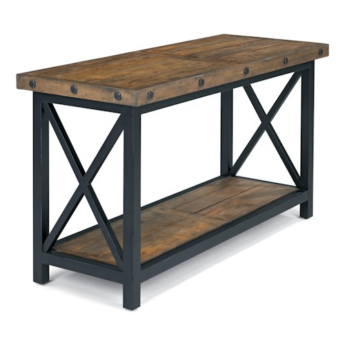 Flexsteel Carpenter Sofa Table With Rectangle Wood Plank