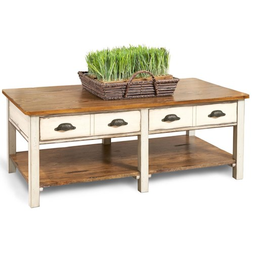 Flexsteel Chateau Two Tone Rectangular Cocktail Table With Storage Drawers Wayside Furniture