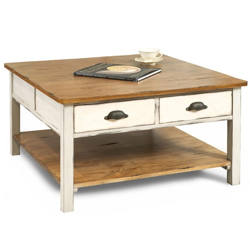 Map Drawer Coffee Table: Flexsteel Chateau Two Tone Square Two Drawer Cocktail