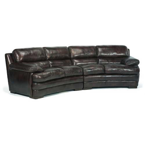 Flexsteel latitudes dylan leather conversation sofa with for Conversation sofa