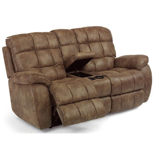 Flexsteel Latitudes Nashua Casual Power Reclining Loveseat With Center Console Dunk Bright