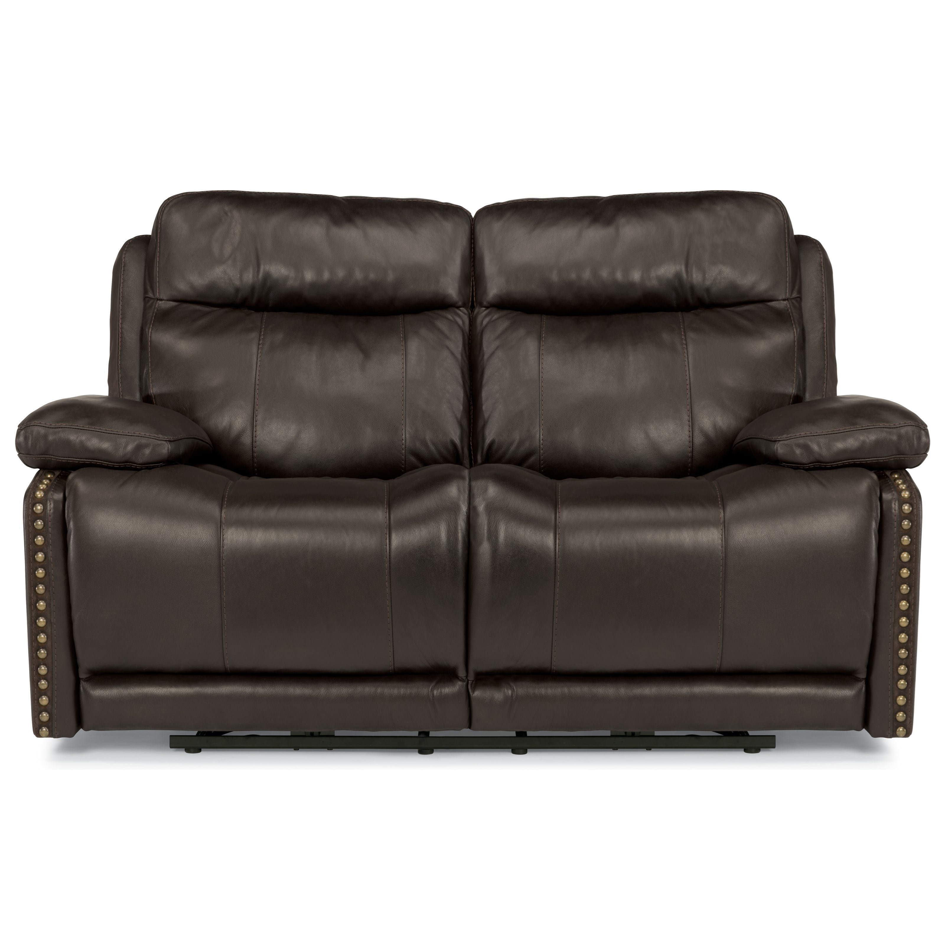 Flexsteel Latitudes-Russell Power Reclining Love Seat with Adjustable Headrests and USB Ports ...