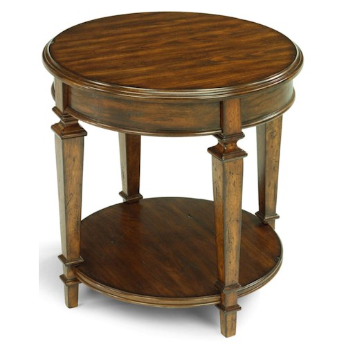 Flexsteel oakbrook traditional round wood end table with for Round wood side table