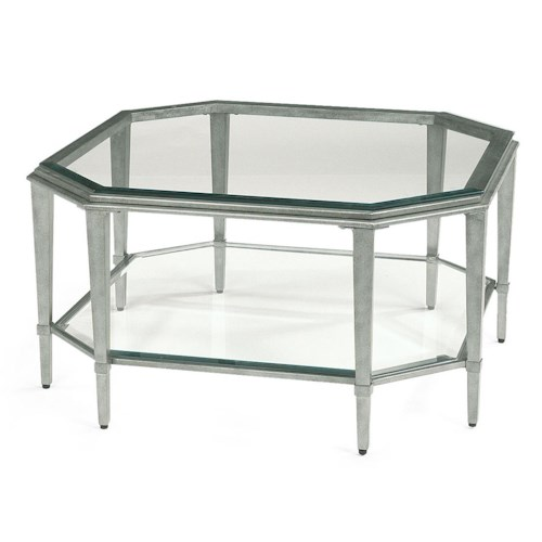 Flexsteel Prism Contemporary Square Glass Cocktail Table