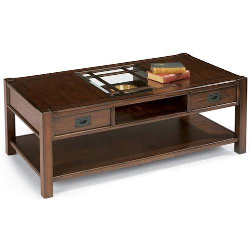 Flexsteel Sonoma Rectangular Cocktail Table With Two Drawers Fashion Furniture Cocktail Or