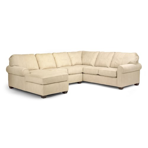 Flexsteel thornton 3 piece sectional with chaise for 3 piece sectional sofa with chaise