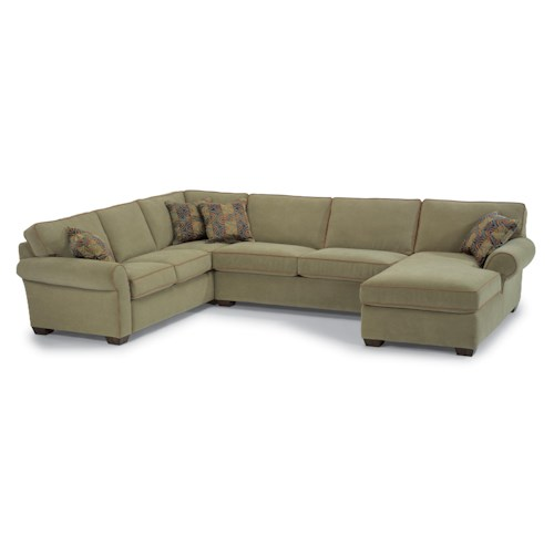 Flexsteel vail three piece sectional with chaise mueller for 3 piece chaise sectional