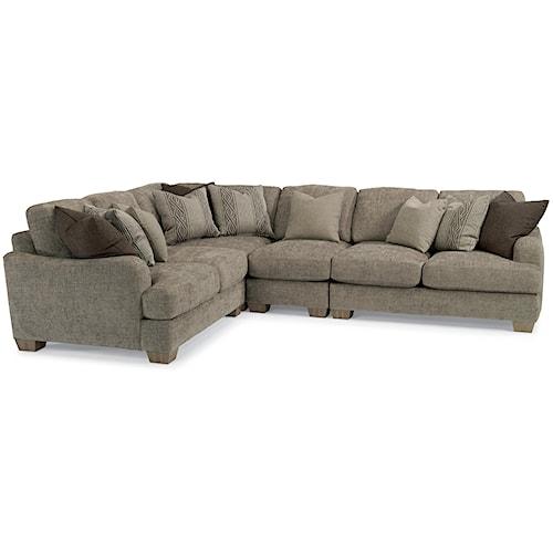 Loose Pillow Back Sofa: Flexsteel Vanessa Sectional Sofa With Loose Pillow Back