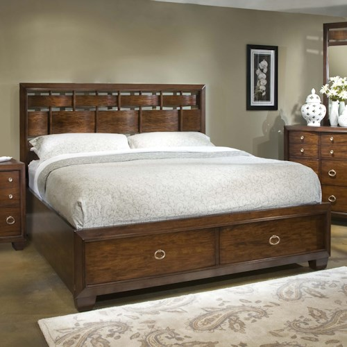 Folio 21 Avignon Queen Storage Bed With Woven Headboard Story Lee Furniture Platform Or