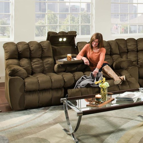 Franklin Brayden Casual Styled Reclining Sofa With Table