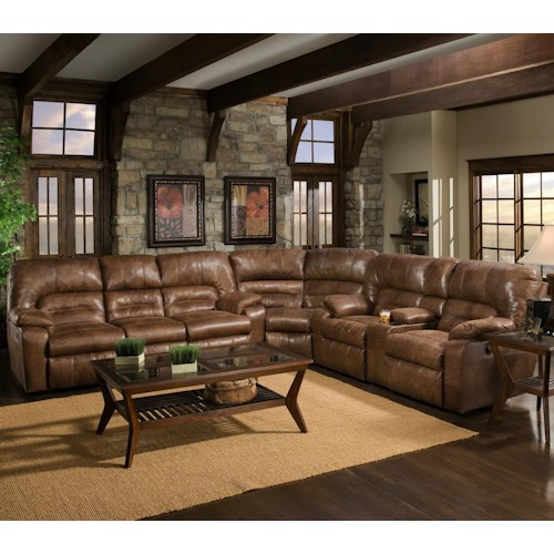 3 Piece Reclining Sectional With Table 596 By Franklin Wilcox Furniture Reclining