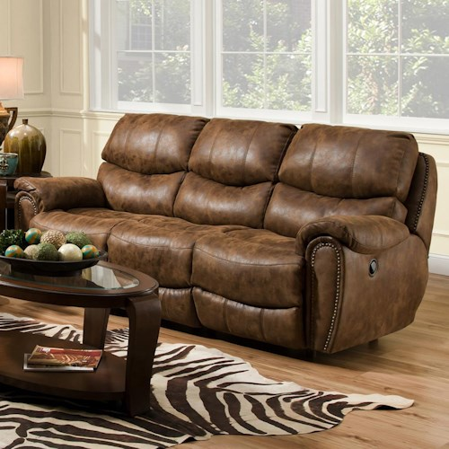 Furniture Furniture Stores In Lake Jackson Texas: Reclining Sofa With Nail Head Trim