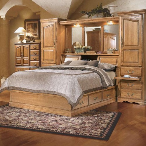 Furniture traditions master piece queen pier bed group for Master bedroom sets queen