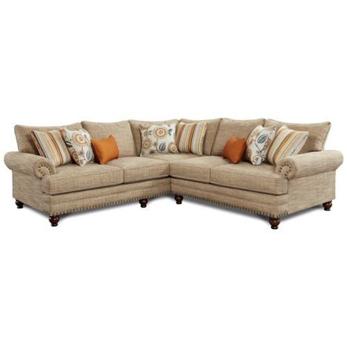 Fusion Furniture 2826 2827 2 Piece Corner Sectional With