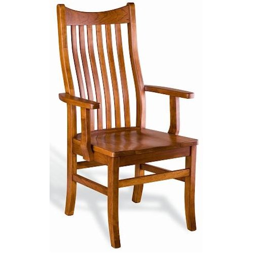 Greenbrier dining quincy solid wood dining arm chair for Wood dining room chairs with arms
