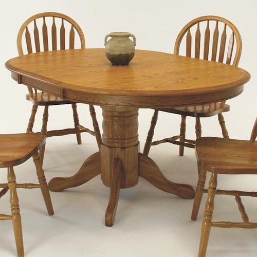 Gs furniture classic oak oval pedestal dining table with for Oak kitchen table with leaf
