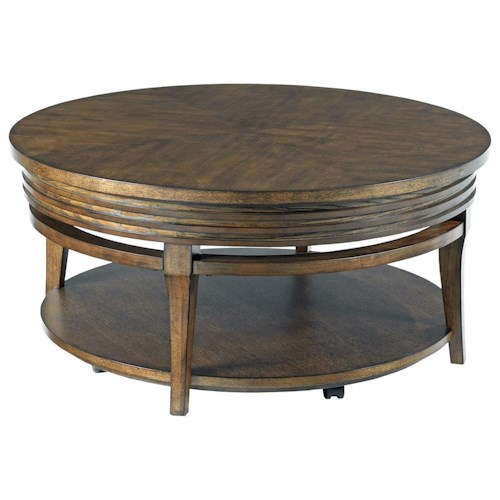 Hammary Groovy Round Cocktail Table With Casters Belfort Furniture Cocktail Or Coffee Table