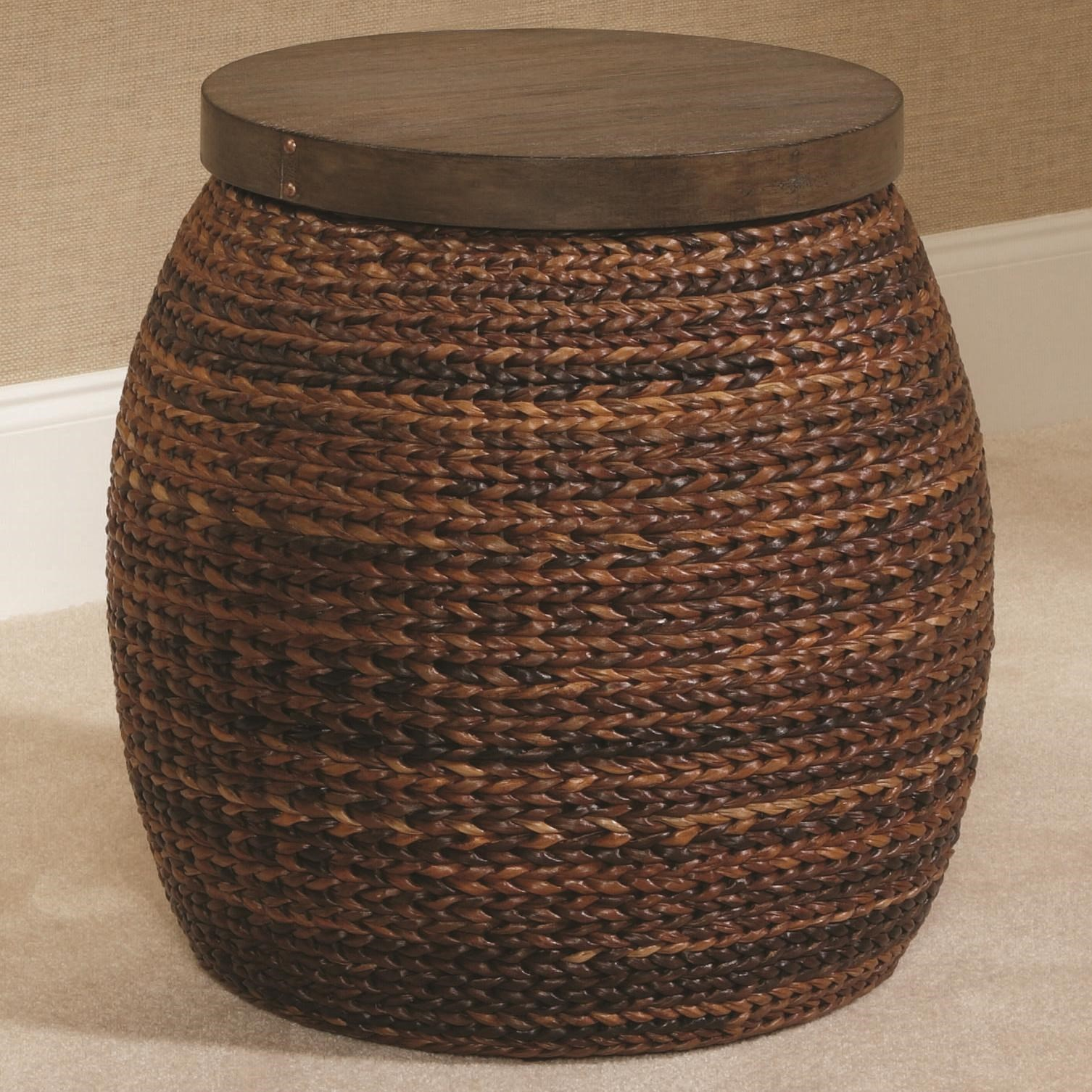Hidden Treasures Round Accent Basket Style Table Morris