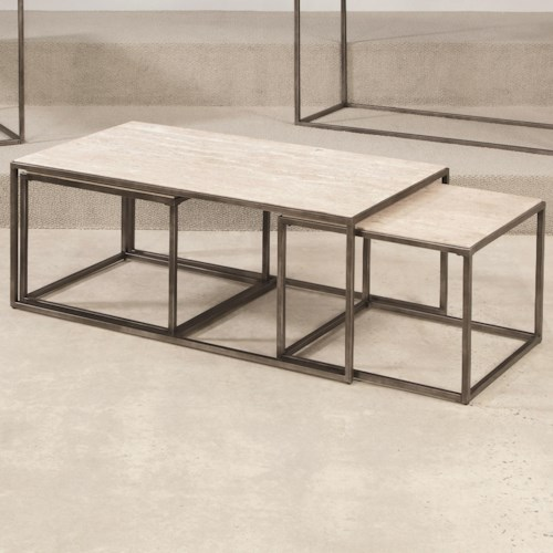 Hammary modern basics rectangular cocktail table with for Modern nesting coffee tables