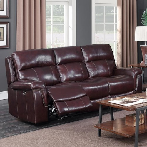 Memphis Furniture Company: Happy Leather Company 1387A Power Sofa