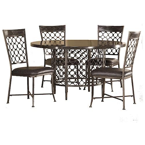 Hillsdale Brescello 5 Piece Round Dining Set With Bluestone Table A1 Furniture Mattress