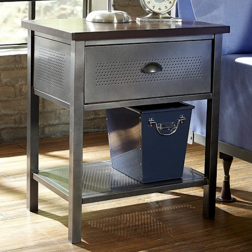 Hillsdale urban quarters contemporary metal nightstand for Metal night stands bedroom