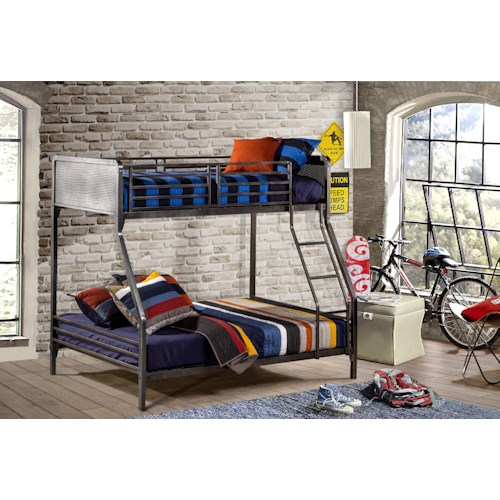 Hillsdale Urban Quarters Contemporary Metal Twin Full Bunk Bed Godby Home Furnishings Bunk