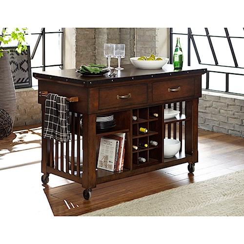 Homelegance schleiger industrial kitchen island cart with - Kitchen island decorative trim ...