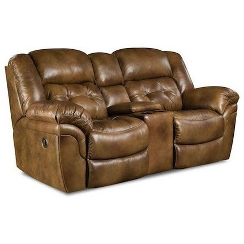 Homestretch Cheyenne Casual Power Reclining Console Loveseat With Cup Holders Dunk Bright